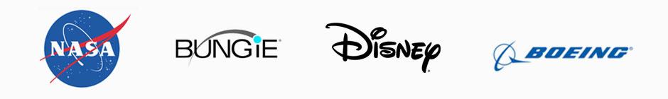 NASA, Bungie, Disney, and Boeing Logos