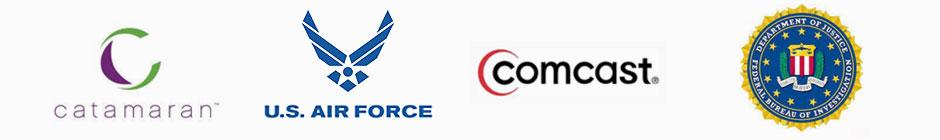 Catamaran, USAF, Comcast, and FBI Logos
