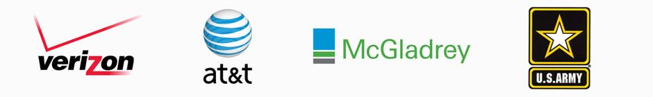 Verizon, AT&T, McGladrey, and Army Logos