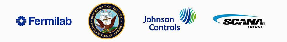 Fermilab, Navy, Johnson Controls, and Navistar Logos