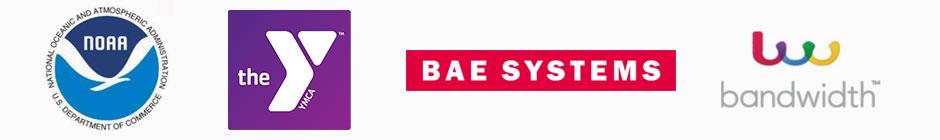NOAA, YMCA, BAE, and Bandwidth Logos