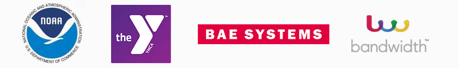 NOAA, YMCA, BAE, and Bandwidth Logos