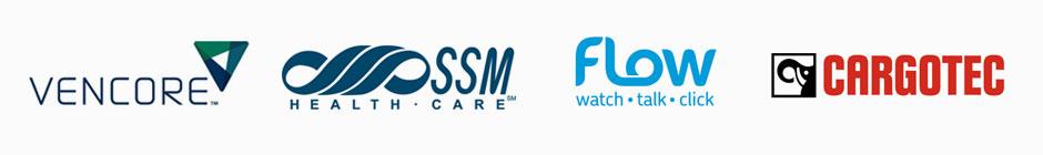 Vencore, SSM, FLow, and Cargotech Logos