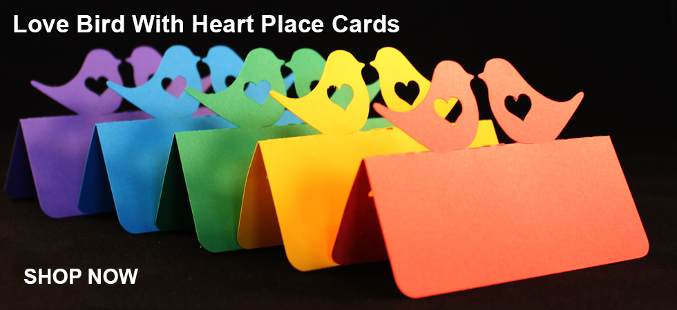 Love bird with heart place cards