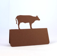 Cow place card - shown in brown