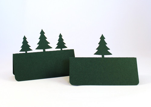 Pine tree place cards - shown in hunter green