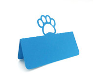 Paw print place card - peacock blue