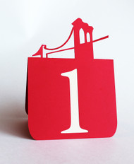 Brooklyn bridge table number (Red with tan cardstock)
