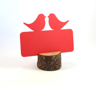 Love bird flat place card - shown in red (wood piece not included)