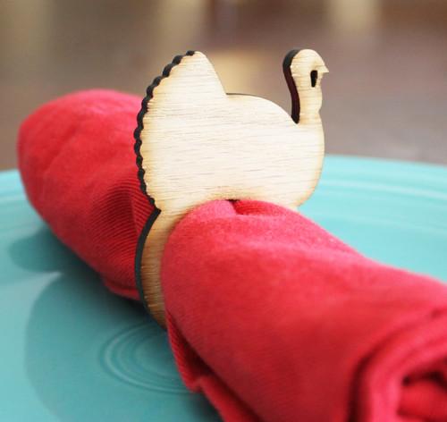 Turkey wood napkin ring - small