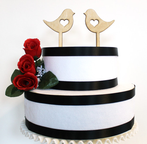 Love bird cake topper - shown in birch wood