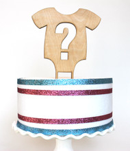 Gender reveal cake topper - shown in birch wood
