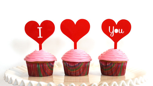 I love you cupcake topper set