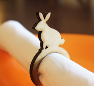 Easter rabbit wood napkin ring - small