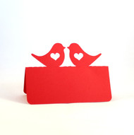 Love bird with heart place card - shown in red