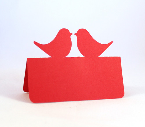 Love bird place card - red