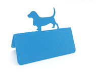 Dog place card - peacock blue
