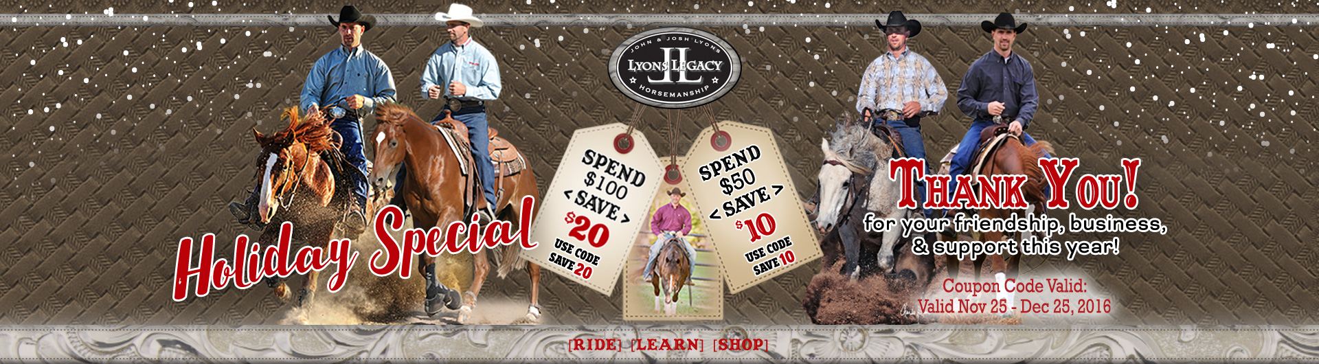 Holiday Special - Spend $100 Save $20 Spend $50 Save $10