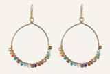 Round Brass Hoop Earrings w/Colored Glass Beads