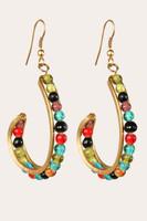 Brass & Colored Beads Dangle Earrings