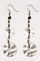 Silver Metal Double Circle Dangle Earrings