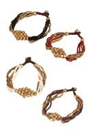 Brass Bead Bracelet w/Diamond Design