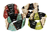 Mixed Colored Bead Stretch Bracelets w/Wood