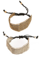 Woven Brass Bead Bracelet w/Adjustable Sizing