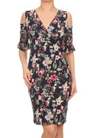 Faux Wrap Short Dress w/Cold Shoulder in Navy Floral