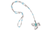 Silver Butterfly w/Aqua Stone Pendant Necklace