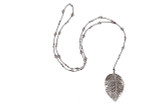 Silver Hammered Leaf Pendant Necklace