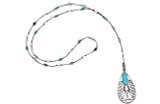 Silver Open Tear Drop w/Inlay & Turquoise Stone Pendant Necklace