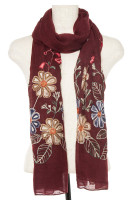 Scarf w/Embroidered Flowers