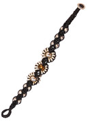 Silver & Copper Colored Glass Bead Macrame Bracelet