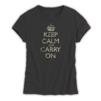 Keep Calm & Carry On Ladies Black Distressed T-Shirt
