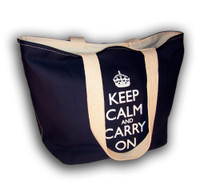 Keep Calm & Carry On Blue Tote Shopping Bag
