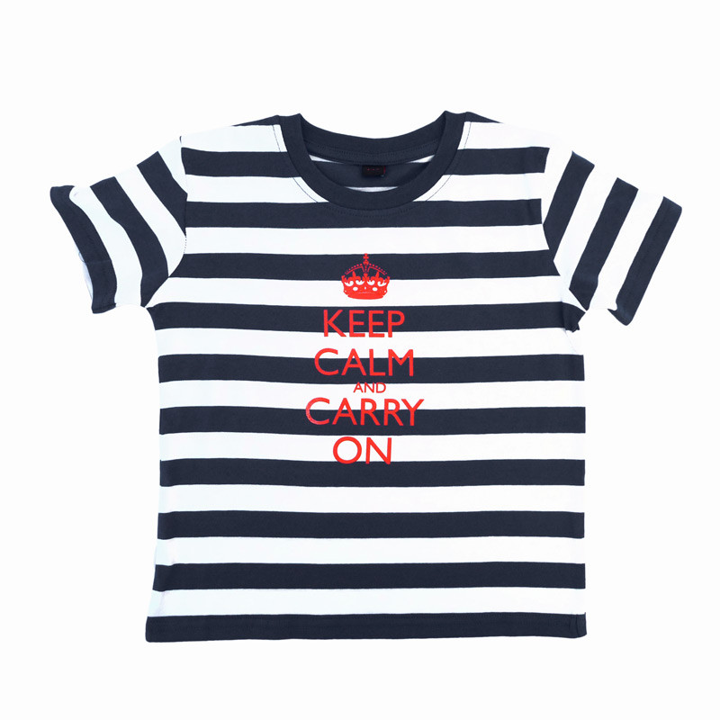 Children's Blue & White Stripes T-Shirt - Keep Calm and Carry On