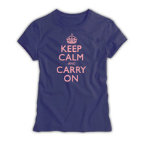Keep Calm & Carry On Ladies Denim Blue & Pink T-Shirt