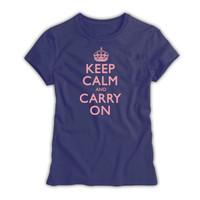 Keep Calm & Carry On Ladies Denim Blue & Pink T-Shirt