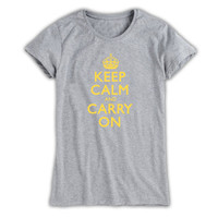 Keep Calm & Carry On Ladies Grey & Yellow T-Shirt