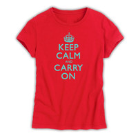 Keep Calm & Carry On Ladies Red & Turquoise T-Shirt