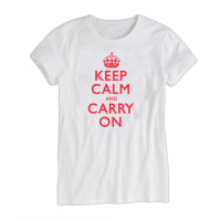 Keep Calm & Carry On Ladies White & Red T-Shirt