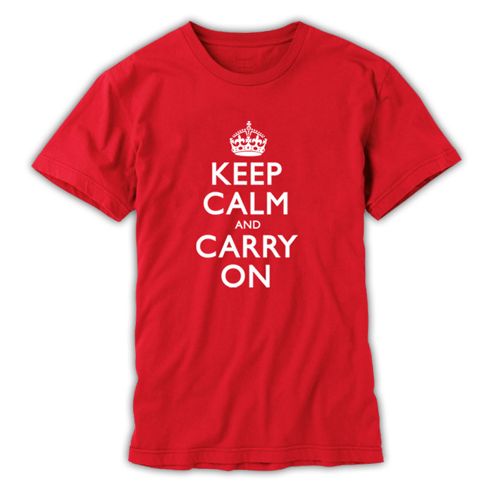 Men's Bold Red and White T-Shirt - Keep Calm and Carry On