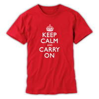 Keep Calm & Carry On Gentleman's Red and White T-Shirt