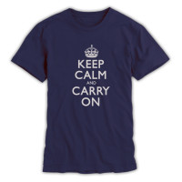 Keep Calm & Carry On Gentlemen's Light Navy and Grey T-Shirt