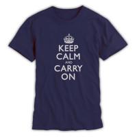 Keep Calm & Carry On Gentlemen's Light Navy and Grey T-Shirt