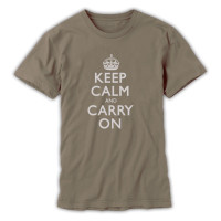 Keep Calm & Carry On Gentlemen's Olive & Grey T-Shirt