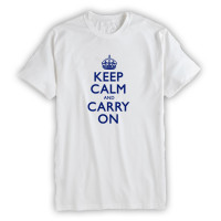 Keep Calm & Carry On Mens White & Navy Blue T-shirt