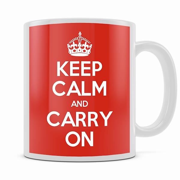 KEEP CALM AND CARRY ON RED MUG