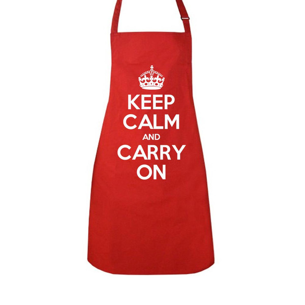 KEEP CALM AND CARRY ON RED APPRON